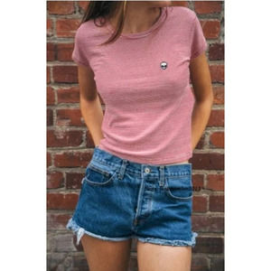 Brandy Melville Red Striped Alien Patch Top
